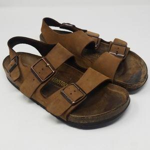Birkenstock Dark Tan Soft Leather Double Strap